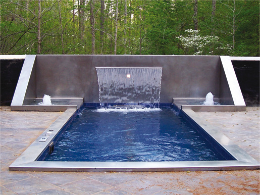 The Hot Tub And Integral Stainless Steel Waterfall And Fountains Show The  Design Flexibility Of Welded Stainless Construction.
