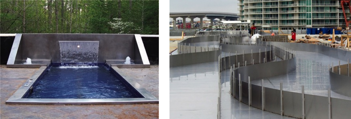 Stainless swimming pool design, stainless steel in architecture ...
